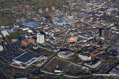 aerial photograph of Hanley, Stoke-on-Trent, Staffordshire UK