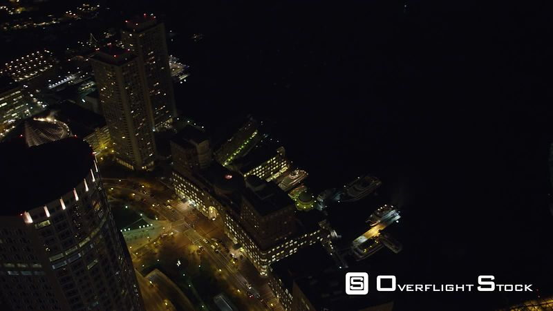 Orbiting Boston's Financial District at night, Old Customs House on right as clip ends.
