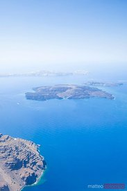 Arial view of the volcanic island in Santorini Greece