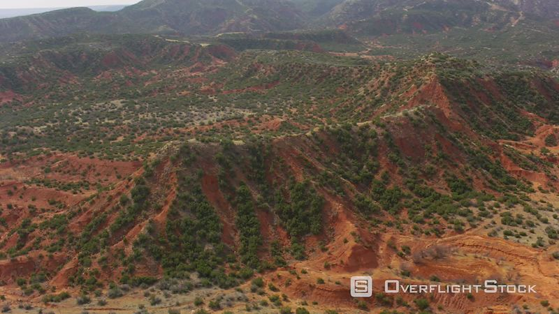 Aerial view of red rock hills outside of Amarillo, Texas