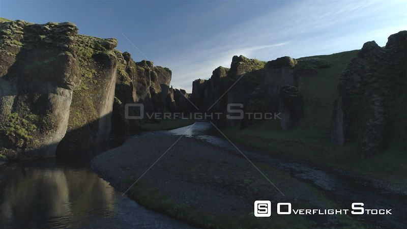 Birds Fjadragljufur Glacial River Canyon Iceland, Morning Light Aerial Rising Shot