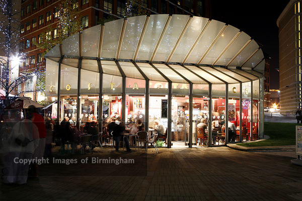 Costa coffee shop in Central Square, Brindleyplace, Birmingham. Renowned for its architecture.