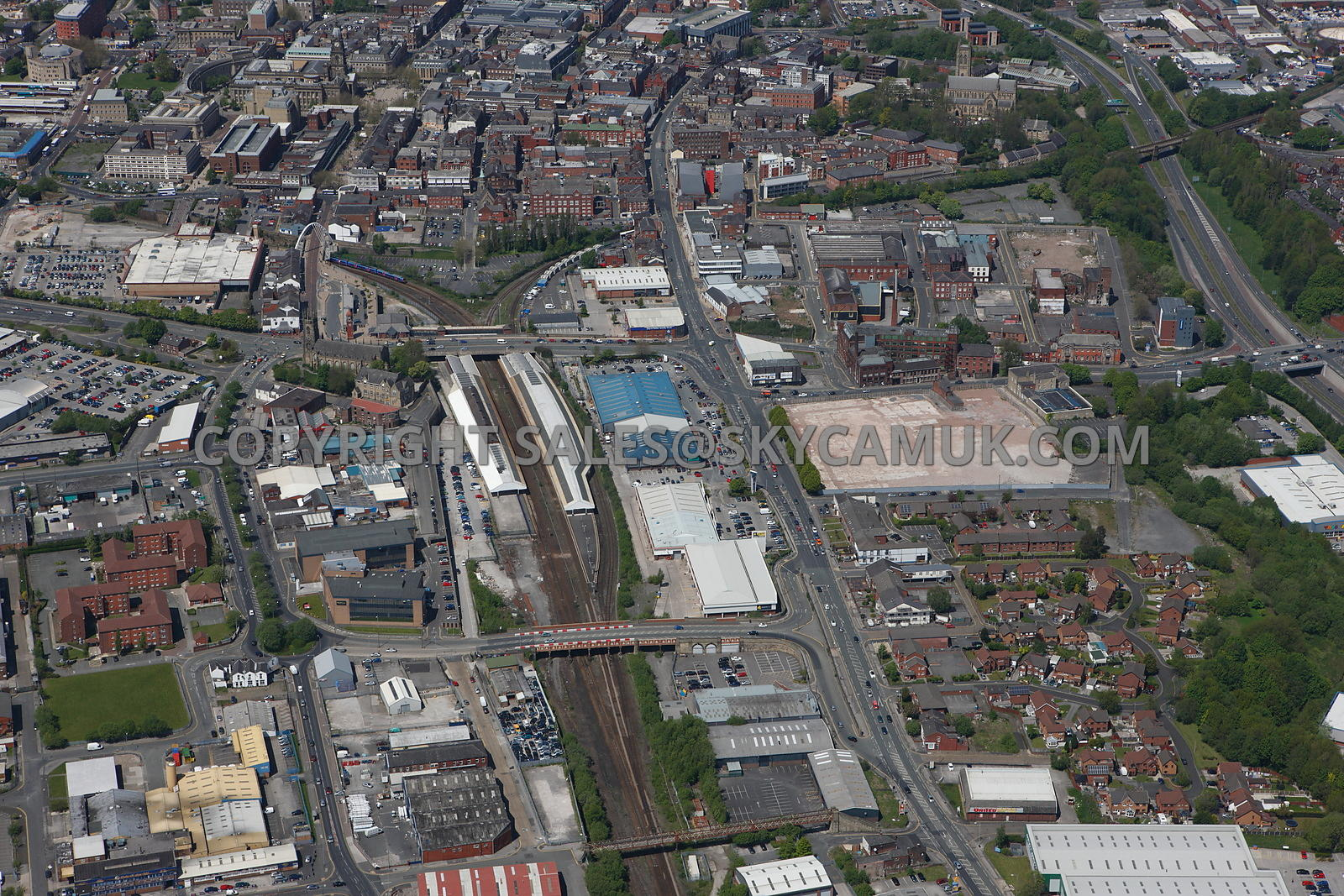Bolton aerial photograph of the area of Thynne Street and Bolton Railway Station