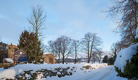 Snow on church lane Great Longstone