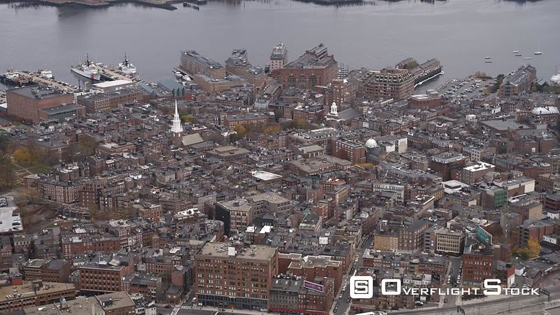 Flying Over Old Town Boston Toward Charles River  Old North Church in Lower Center Frame as Clip Ends.