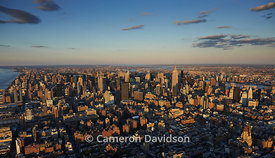 Aerial photograph in the late afternoon of midtown Manhattan, New York City.