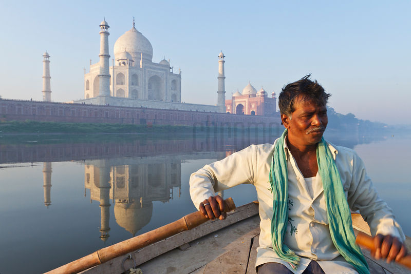 Boatman Rowing in the Yamuna River in Front of the Taj Mahal