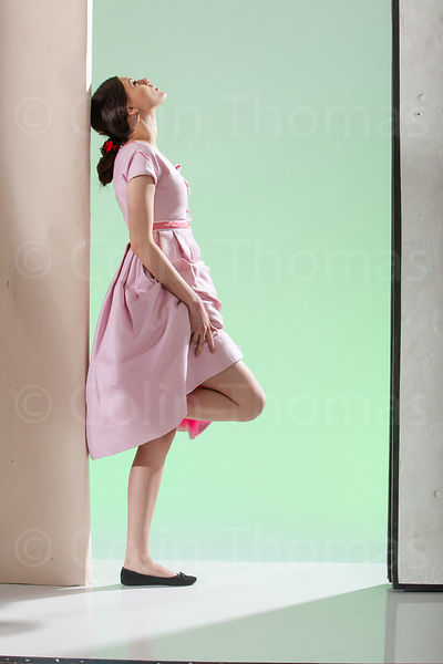 Girl in pink dress back view photos