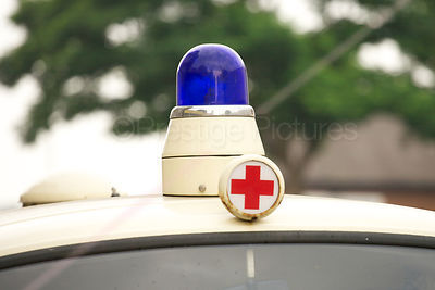 German Ambulance Blue Light and Red Cross