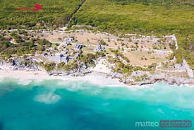 Aerial of the mayan ruins of Tulum, Riviera Maya, Mexico