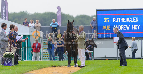 Andrew Hoy and RUTHERGLEN - The first vets inspection (trot up),  Land Rover Burghley Horse Trials, 3rd September 2014.