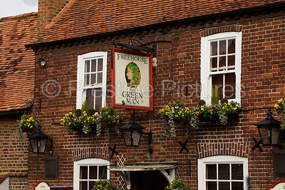 Pub called The Green Man with Traditional Hanging Sign