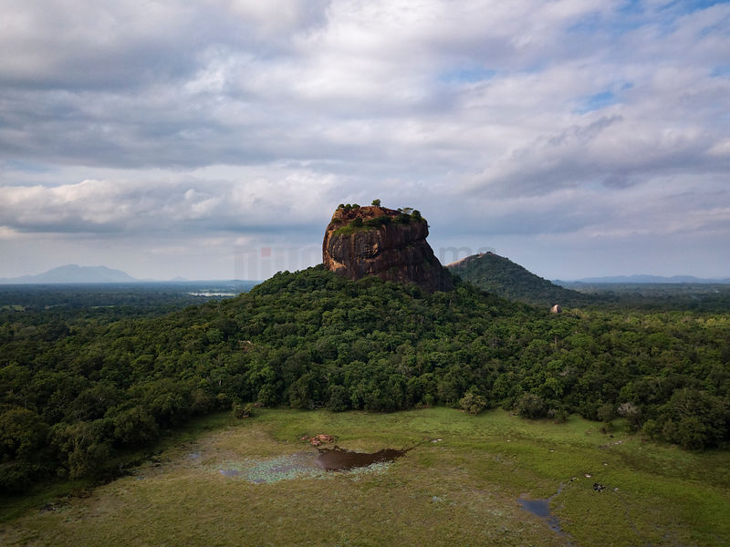Elevated View of Sigiriya Rock with Pidurangala Rock in the Background