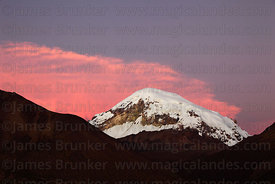 Sajama volcano seen from south-west at sunset, Sajama National Park, Bolivia