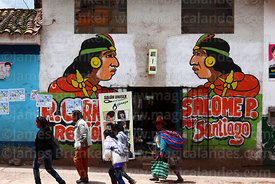Propaganda mural for Movimiento Regional Inka Pachakuteq party on hairdressers shop, Santiago, Cusco, Peru