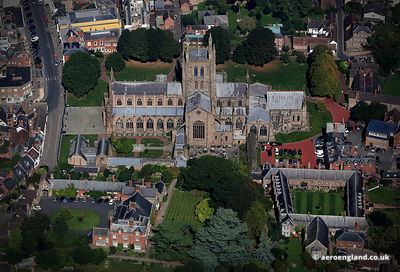 aerial photograph of Hereford Cathedral Herefordshire England UK