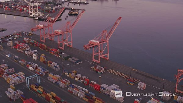 Seattle, Washington Aerial view of Seattle shipping port.  Shot with Cineflex and RED EpicW Helium.