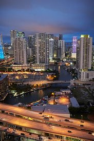 Aerial photograph of downtown Miami in the evening