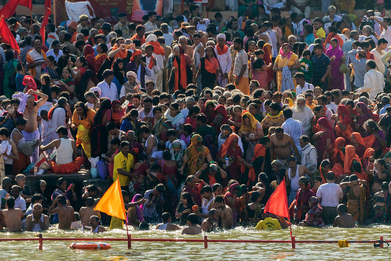Pilgrims Gather to Bathe at Ram Ghat During Simhasth Kumbh Mahaparv Mela