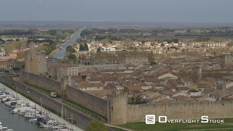 Aerial view of Medieval City Aigues-Mortes, Canal Grau-Du-Roi, filmed by drone, France