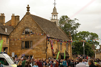 Chipping Campden Town Hall Draped with Bunting for the Olympic Torch Relay