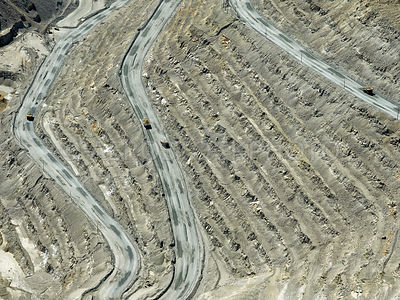 Open pit copper mine,  hard rock mining, Sierrita Mine, Pima County, Arizona, USA