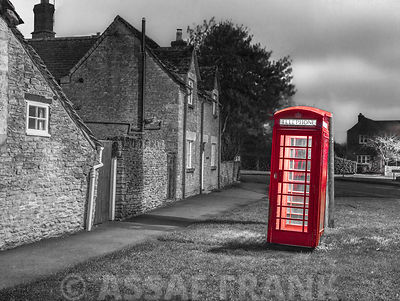 Telephone booth on street, Siddington, , Cotswold, UK