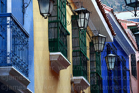 Gas lamps and balconies in Calle Jaen, the best preserved colonial street in La Paz, Bolivia
