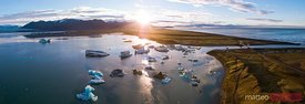 Aerial panoramic view of Jokulsarlon glacial lagoon at sunrise, Iceland