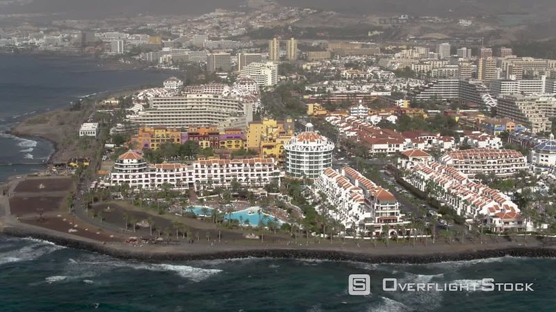 Los Cristianos Resorts, filmed by drone, Tenerife, Canary Islands