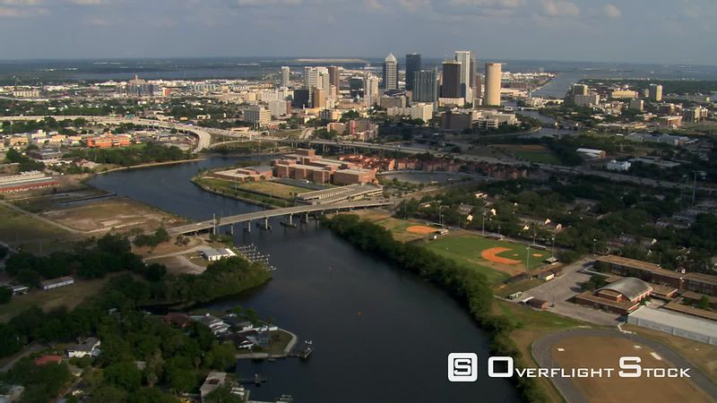 Flight approaching downtown Tampa, Florida