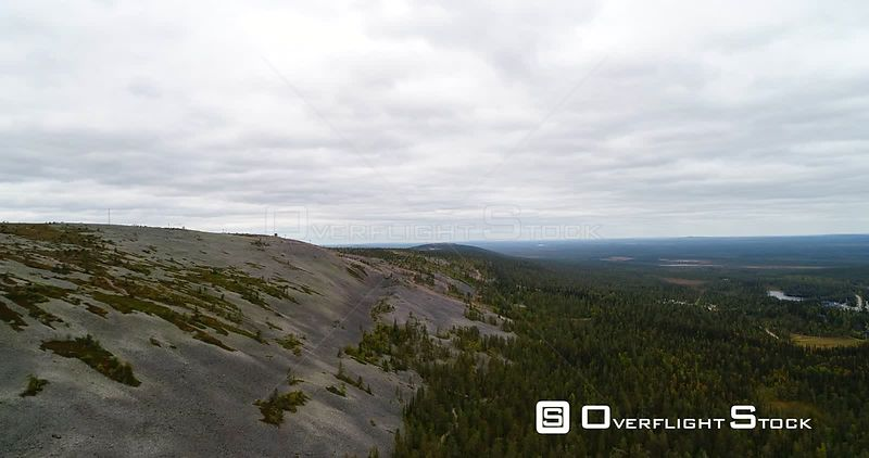 Fjeld Mountain, Aerial View Infront of Luostotunturi Fell, in Pyhaluosto National Park in Lapland, on a Cloudy Autumn Day, in Lappi, Finland