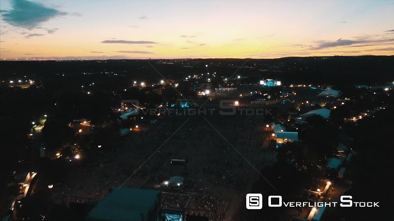 Dusk Sunset Aerial Drone Video Austin City Limits Music Festival Texas