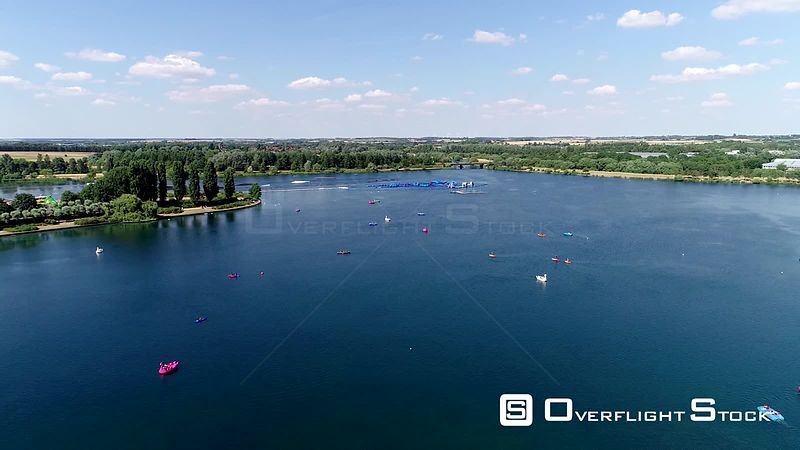 Aerial view of Willen Lake and Water Ski Centre, Milton Keynes filmed by drone in summer, United Kingdom