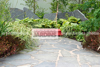 Contemporary garden, Pavement, Red, Stone, Low wall stone, Wooden footbridge, Digital, Stone path