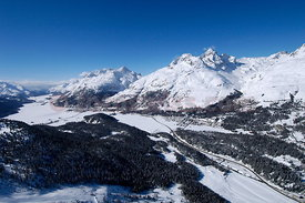 Airview of St. Moritz Champfer and surroundings in winter.