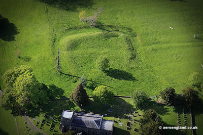 aerial photograph of Siegworks from the English Civil War at Tissington, Derbyshire England UK.