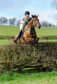 Zoe Gibson and JAFFA jumping the last hedge - Harborough Ride 2014