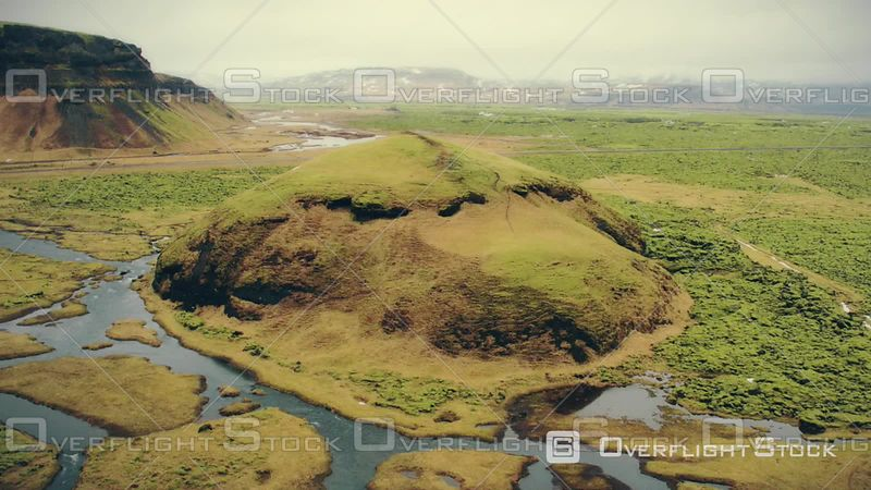 Strange Mountain on the Middle of Nowhere in Iceland, Filmed by Drone, Skaftarhreppur