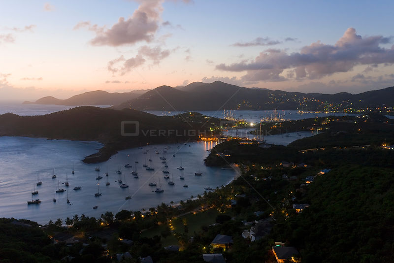 Elevated view at dusk over English Harbour and Nelson's Dockyard from Shirley Heights, Antigua, Antigua and Barbuda, Leeward Islands, Lesser Antilles, Caribbean, West Indies 2008