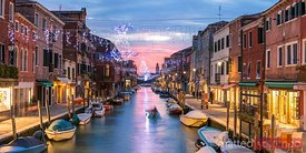 Panoramic of canal at Christmas, Burano, Venice