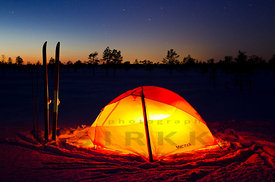 Tent and Skis in the Night