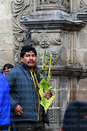 Man holding ornaments made out of palm leaves outside San Francisco church before mass on Palm Sunday, La Paz, Bolivia