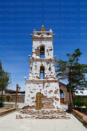 San Lucas church belfry in main square, Toconao, Region II, Chile