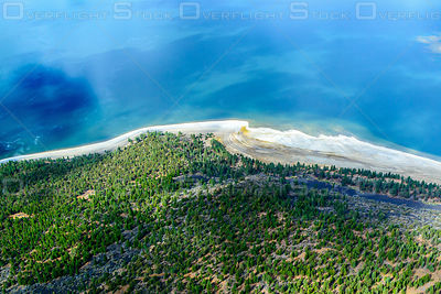 Intense Blue Lake and White Sandy Shore California