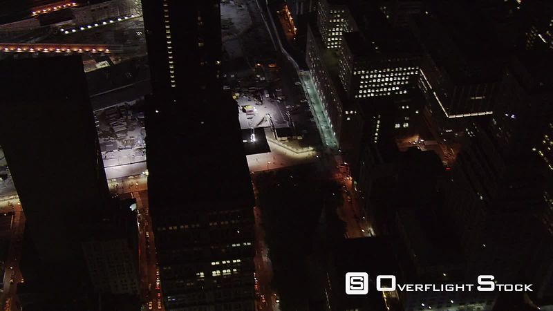 Night flight over Ground Zero.