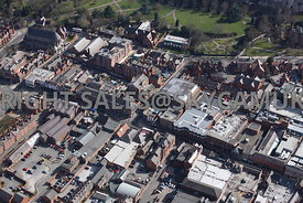 Chester aerial photograph  showing Foregate Street one of the main shopping streets of Chester