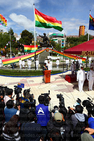 The national press covers Bolivian president Evo Morales Ayma's speech to the nation during official events for Dia del Mar / Day of the Sea, Plaza Avaroa, La Paz, Bolivia