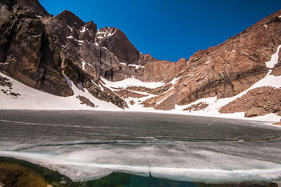 Chasm Lake at the base of Long's Peak.  Rocky Mountain National Park, Colorado