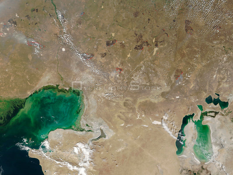 EARTH Caspian Sea / Aral Sea -- Aug 2002 -- The Caspian Sea (bottom left) and the Aral Sea (bottom right), dominate this image of Central Asia from space.